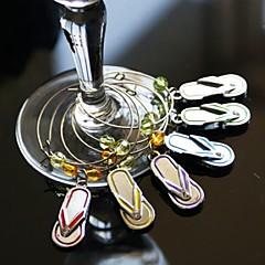 flip flop vino charms in vetro (set di 6)