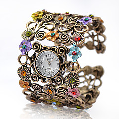 Mulheres Relógio de Moda Bracele Relógio Quartzo Lega Banda Vintage Flor Bracelete Elegantes Bronze