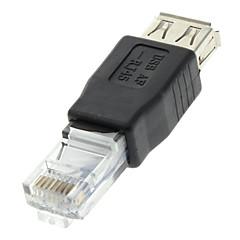 Adaptador para Ethernet (USB 2.0 Fêmea para RJ45 Macho, Preto)
