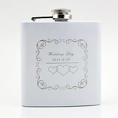Par Gaver Stk. / Sæt Flasker Klassisk Bryllup Rustfrit Stål Personaliseret Flasker Hvid Gaveæske