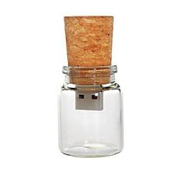 8 gb bouteille en verre avec bouchon dur usb stylo flash (transparent)