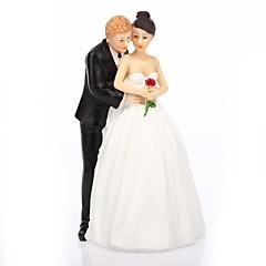 Kakepynt Ikke-personalisert Klassisk Par Harpiks Bryllup Hvit / Svart Klassisk Tema Gaveeske