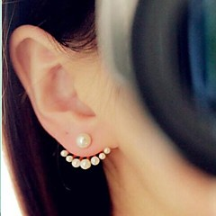 Femme Boucles d'oreille goujon Boucles d'Oreilles Stylées Devant Derrière bijoux de fantaisie Simple Style Mode Imitation de perle Plaqué