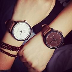 Masculino Mulheres Casal Relógio de Moda Quartzo Couro Banda Casual Preta Marrom Branco Preto Marron Branco-Preto