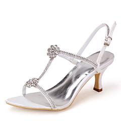 naisten kengät avokärkinen piikkikorko satiini sandaalit tekojalokivi häät kengät enemmän värejä