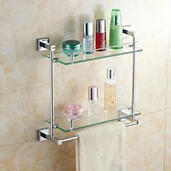 elegant messing dobbelt-deck glas badeværelse hylder med håndklæde bar