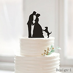 Kakepynt Ikke-personalisert Klassisk Par Akryl Bryllup Jubileum Utdrikkingslag Svart 1 OPP