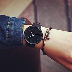 Homens Mulheres Casal Relógio de Moda Quartzo Relógio Casual Couro Banda Minimalista Preta