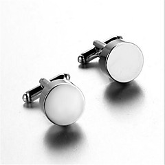 Men's Fashion Round Silver Alloy French Shirt Cufflinks (1-Pair)