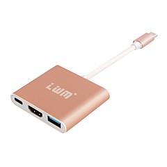 LWM usb c-hub med hdmi2.0 / USB3.0 / kvinnelig usb-c for macbook / Chromebook Pixel