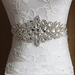 Satin Wedding Party/ Evening Dailywear Sash-Crystal Rhinestone Women's 98 ½in(250cm) Crystal Rhinestone