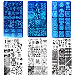 10kpl / asettaa uusia makea värikäs design kynsien ruostumatonta terästä leimaamalla levy DIY muoti leimaamalla vahakset manikyyri työkalu