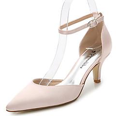 Sandaalit-Piikkikorko-Naiset-Silkki-Valkoinen Musta Vaalea vaaleanpunainen Laivastosininen-Häät Ulkoilu Toimisto Puku Juhlat-D'Orsay