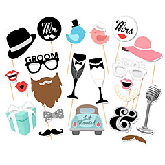 22piece/set Love Bird Mr Mrs Just Married Funny Photo Booth Props Bride Groom Sparkling Wedding Decoration Bridal Shower Event Party Supplies