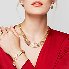 Women's Jewelry Set Statement Necklaces Bracelet Earrings Ring Jewelry Gold Plated 18K gold Fashion Statement Jewelry Costume Jewelry