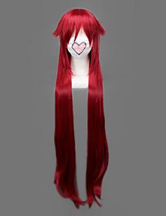 Perucas de Cosplay Black Butler Grell Sutcliff Vermelho Longas Anime Perucas de Cosplay 90 CM Fibra Resistente ao Calor Masculino