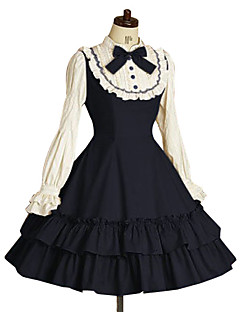 Yksiosainen/Mekot Klassinen ja Perinteinen Lolita Prinsessa Tyylikäs Cosplay Lolita-mekot Musteensininen Rusetti Vintage Pitkähihainen
