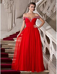 Une ligne princesse sweetheart off-the-shoulder longueur au sol chiffon tulle robe de bal avec perles par ts couture®