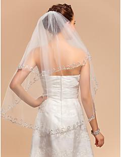 Véus de Noiva Duas Camadas Véu Cotovelo Borda com aplicação de Renda 33,46 cm (85 centímetros) Tule MarfimLinha-A, Vestido de Baile,
