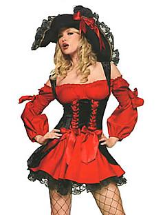 Cosplay Kostumer Festkostume Pirat Festival/Højtider Halloween Kostumer Rød Patchwork Kjole Hat Halloween Karneval Nytår Kvindelig