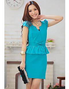 Stojak damski Neck Bow Dopasowana sukienka mini z krótkim rękawem