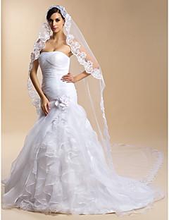Véus de Noiva Uma Camada Véu Catedral Borda com aplicação de Renda 118,11 em (300 centímetros) Tule Renda Branco MarfimBainha/Coluna