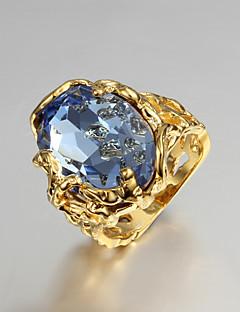 Kadın's İfadeli Yüzükler Nişan yüzüğü Aşk lüks mücevher kostüm takısı Kübik Zirconia Altın Kaplama 18K altın Mücevher Mücevher Uyumluluk
