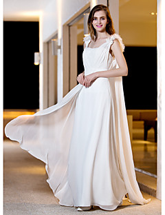 A-Line Straps Floor Length Georgette Wedding Dress with Flower Side-Draped by LAN TING BRIDE®