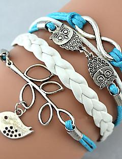 Dame Charm-armbånd Wrap Armbånd Læder Armbånd Enkelt design Venskab Mode Håndlavet Personaliseret Flerlags kostume smykker Læder Legering