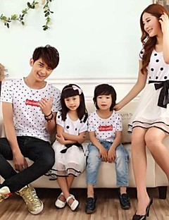 Family's Fashion Joker Leisure Parent Child Wave Point Short Sleeve T Shirt And Dress