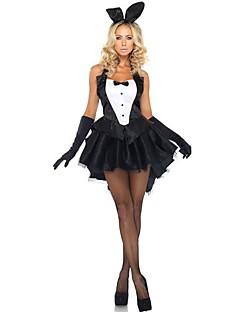 Cosplay Kostumer Festkostume Bunny Piger Festival/Højtider Halloween Kostumer Sort Patchwork Kjole Handsker Hovedtøj Halloween Kvindelig