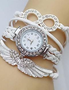 לנשים שעוני אופנה שעון צמיד יהלוםSimulated שעון קווארץ אֲגַף חיקוי יהלום עור להקה מדבקות עם נצנצים בוהמי לבן כחול אדום ירוק ורוד ורד שנהב