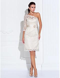 Suojus / pylväs yksi olkapää rakkaus polvipituinen pitsi kotipukuinen mekko, jossa pitsiä ts couture®