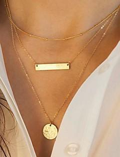 Dame Kjedehalskjeder lagdelte Hals Geometrisk Form Legering Mote Europeisk Multi Layer Paljetter kostyme smykker Smykker Til Daglig