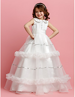 Vestido de vestidos de noiva com vestido de bola vestido de garota florida - cetim de jóia sem mangas de cetim by lan ting bride®
