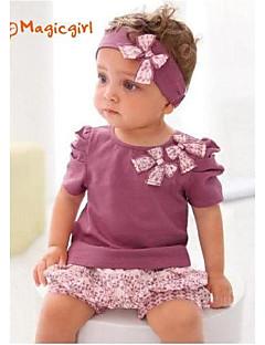 Girl's Summer Short Sleeve Bow Purple T-shirts + Flora Short Pants + Hair Band 3pcs Sets(Cotton)