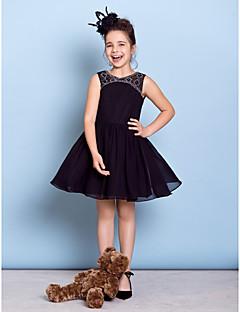 A-Şekilli Taşlı Yaka Diz Boyu Şifon Çocuk Nedime Elbisesi ile Boncuklama tarafından LAN TING BRIDE®