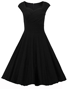 Women's Party Vintage A Line Dress,Solid Sweetheart Knee-length Sleeveless Cotton Spandex Summer Mid Rise Micro-elastic Medium