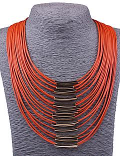 Dame Uttalelse Halskjeder store halskæder Smykker Legering Mote Erklæringssmykker Vintage Oransje Beige Rød Blå Fuksia Smykker TilFest