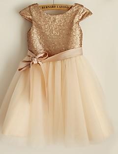πριγκίπισσα γόνατο μήκος κορίτσι φόρεμα λουλουδιών - σατέν κοντό μανίκια λαιμό σέσουλα από thstylee