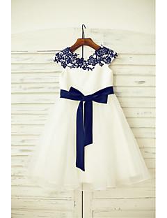 α-γραμμή γόνατο κορίτσι φόρεμα λουλουδιών - δαντέλα τούλι κοντό μανίκι λαιμό σέσουλα με κορδέλα από thstylee