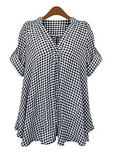 Damen Schachbrett Hemd,V-Ausschnitt Sommer Kurzarm Baumwolle Mittel
