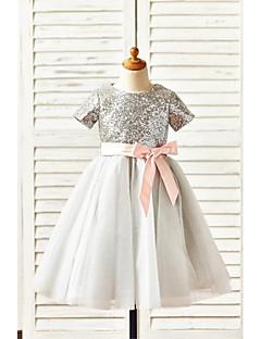α-γραμμή γόνατο κορίτσι φόρεμα λουλουδιών - μπλούζα τουλίπ με κοντό μανίκι λαιμό κόσμημα με sequins από thstylee