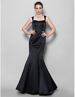 בתולת ים \ חצוצרה צווארון מרובע עד הריצפה תחרה סאטן שמלה לשושבינה  עם תחרה על ידי LAN TING BRIDE®