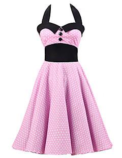 Women's Pink White Mini Polka Dot Dress , Black Collars Big Buttons Vintage Halter 50s Rockabilly Swing Dress