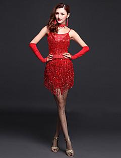 בגדי ריקוד נשים - שמלות - לטיני / ביצוע ( פוקסיה / זהב / אדום , פוליאסטר , קריסטלים / rhinestones / נצנצים / גדיל (ים) )