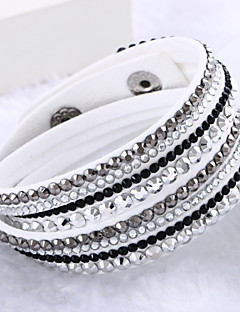 Dame Wrap Armbånd Unikt design Mode Flerlags luksus smykker kostume smykker Læder Rhinsten Simuleret diamant Smykker Smykker Til Bryllup