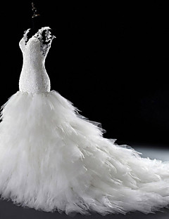Havfrue / trompet v-hals katedral tog tulle brudekjole med beading av lan ting bride®