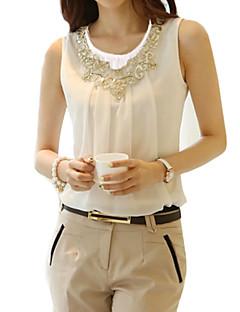 Damen Solide Einfach Street Schick Lässig/Alltäglich Übergröße Bluse,Rundhalsausschnitt Alle Saisons Ärmellos Polyester Dünn