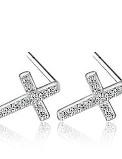 Dames Oorknopjes Zirkonia Modieus Kostuum juwelen Sterling zilver Zirkonia Kubieke Zirkonia Kruisvorm Sieraden Voor Bruiloft Feest